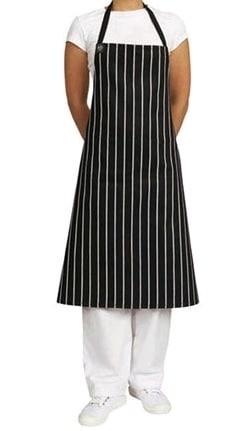 APRON 86X86 CLOTH DRILL w/ POCKET BLACK & WHITE STRIPE