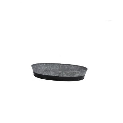 CONEY ISL GALVANISED OVAL TRAY DIPPED BLACK 24X16