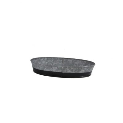 CONEY ISL GALVANISED OVAL TRAY DIPPED BLACK 27X19