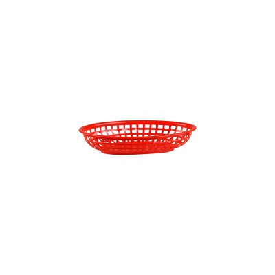 PLASTIC SERVING OVAL BASKET RED 240X150X50