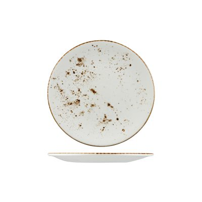 RUSTIC ROUND PLATE 230mm WHITE