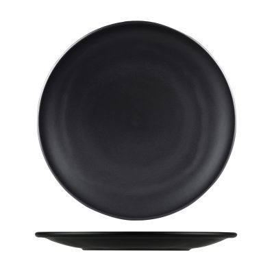NATURAL SATIN BLACK ROUND PLATE 230MM 9937-BK