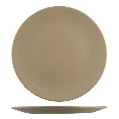 NATURAL SATIN SAND ROUND COUPE PLATE 230MM 9937-SB