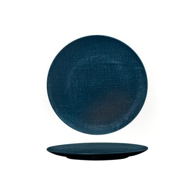 LUZERNE LINEN ROUND PLATE FLAT 210MM NVY BL(6/24)