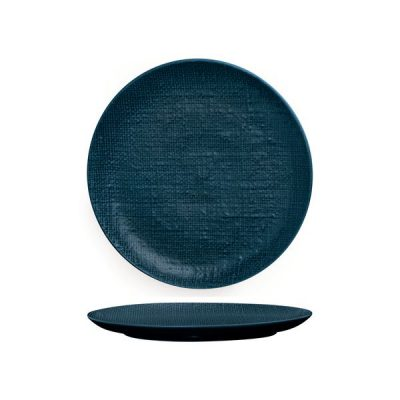 LUZERNE LINEN ROUND PLATE FLAT 260MM NVY BL(4/24)