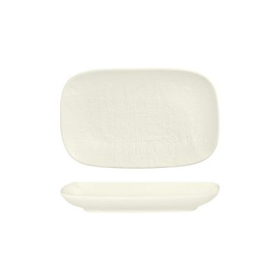 LUZERNE LINEN RECT SHARE PLATE 265MM WHITE(6/48)
