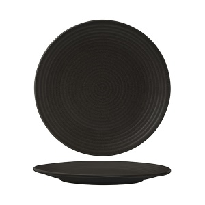 ZUMA BLACK ROUND RIBBED PLATE 265MM(18/6)