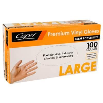 CAPRI VINYL GLOVE POWDERFREE LGE CLEAR [100pcs]