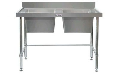 SIMPLY STAINLESS DBL BOWL BENCH 2400X600X900 W/LEG