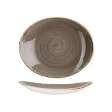 CHURCHILL STONECAST OVAL PLATE-192mm, PEPPERCORN