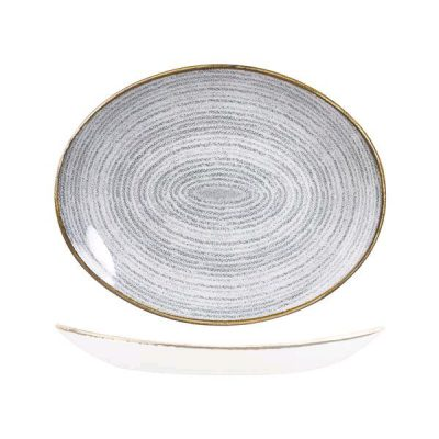 CHURCHILL STUDIO OVAL PLATE 317x255mm, STONE GREY
