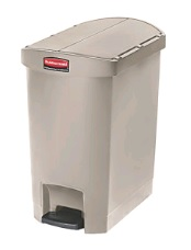 RUBBERMAID 68L SLIM JIM RESIN STEP ON PEDAL BIN