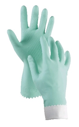 RUBBER GLOVES (M) FLOCK LINED GREEN