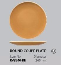 RAK VINTAGE BEIGE ROUND COUPE PLATE 240MM