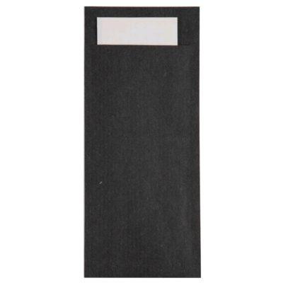 POCHETTE BLACK CUTLERY POUCH W/  NAPKIN (250pcs)